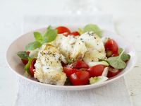 Monkfish with Mint and Tomato Salad recipe