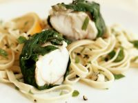 Monkfish with Spinach and Noodles recipe