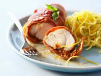 Monkfish Wrapped in Ham with Pasta recipe