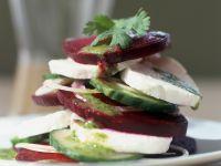 Mozzarella, Beetroot, and Cucumber Stacks recipe