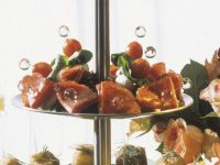 Mozzarella Skewers with Cherry Tomatoes and Salami recipe
