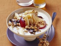 Muesli with Plums and Banana Slices recipe