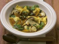 Mushroom and Filled Pasta Soup recipe