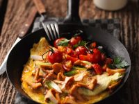 Mushroom Omelets with Stewed Tomatoes recipe