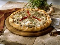 Mushroom Pizza with Red Bell Peppers recipe