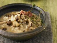 Mushroom-Rice Soup with Bacon recipe