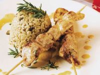 Mushroom Risotto with Chicken Skewers recipe
