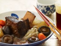 Mushroom Soup with Korean-style Ribs recipe