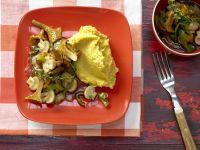 Mushroom-Vegetable Ragout with Chickpea Puree