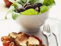 Mustard-coated Pork with Peppers and Salad recipe