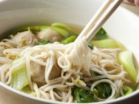Chinese Broth with Noodles and Beef Dumplings recipe