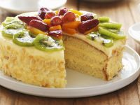Nut Gateau with Fruit Topping recipe
