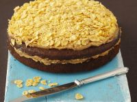 Nutty Chocolate Gateau with Crunchy Topping recipe