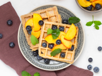 Oat and Spelt Waffles with Peach Berry Topping recipe