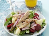 Oily Fish with Beets and Leaves recipe