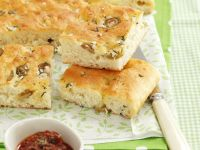 Olive Focaccia with Sun-Dried Tomato Spread recipe