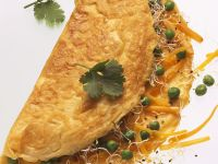 Omelet with Peas, Carrots and Sprouts recipe