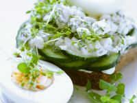Open-Faced Cucumber Sandwiches with Cottage Cheese and Eggs recipe