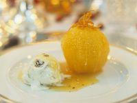 Oranges with Cardamom Caramel Sauce and Walnut Ice Cream recipe