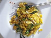 Orzo Pasta with Saffron, Stockfish and Vegetables recipe