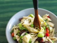 Orzo Salad with Artichokes, Olives and Peppers recipe