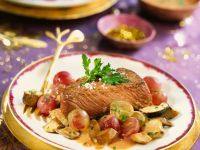 Ostrich with Grapes and Mushrooms recipe