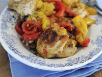 Oven-fried Chicken and Peppers recipe
