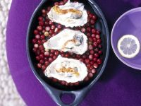 Christmas-time Seafood over Cranberries recipe