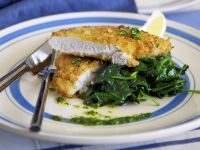 Pan-Fried Chicken Cutlets with Sautéed Spinach and Basil Vinaigrette recipe