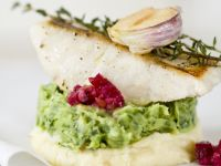 Pan-Fried Perch with Two Potato Purees recipe