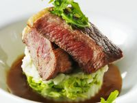 Pan-Fried Steaks with Red Wine Sauce and Potato-Arugula Puree recipe