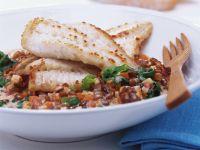 Pan-Fried Turbot on Lentils recipe