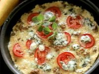 Pan Omelette with Tomato, Beef and Blue Cheese recipe