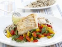 Pan-seared Haddock with Peppers and Wild Rice recipe