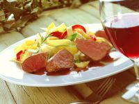 Pan-Seared Venison with Vegetable Pasta recipe
