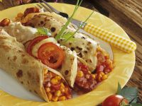 Pancake Rolls Stuffed with Salami and Vegetables recipe