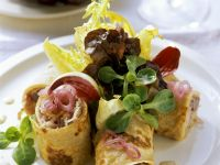 Pancake Rolls with Sauerkraut and Grapes recipe