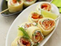 Pancake Rolls with Smoked Salmon recipe