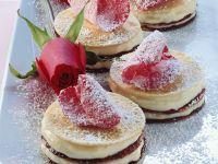 Pancake Stacks with Rose Cream and Chocolate