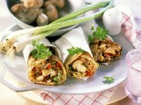 Pancakes Filled with Mushrooms, Sprouts and Scallions recipe