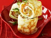 Pancakes with Cream Cheese and Salmon Filling recipe