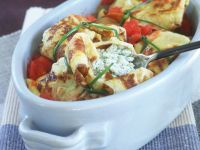 Pancakes with Ricotta, Mozzarella and Tomatoes recipe