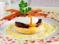 Panini Toasts with Poached  Eggs, Mushrooms and Bacon recipe