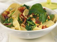 Pappardelle Noodles with Fresh Spinach, Pine Nuts and Bacon recipe