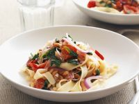 Pappardelle with Spinach, Tomatoes and Pine Nuts recipe