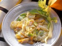 Pappardelle with Vegetables and Cream Sauce recipe