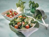Parsley and Spinach Salad with Stuffed Cherry Tomatoes recipe