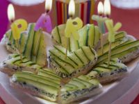 Party Snack: Bread Hearts with Cream Cheese and Cucumber recipe