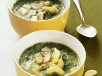 Pasta and Creamed Spinach Soup with Cashews recipe