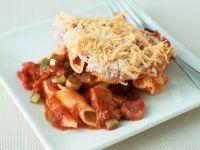 Pasta Gratin with Tomatoes and Ham recipe